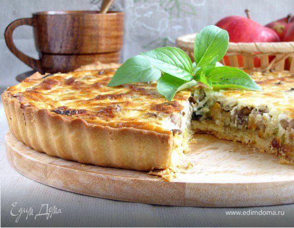 Пирог с луком-пореем и белыми грибами