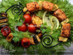Шашлычки из лосося и овощей