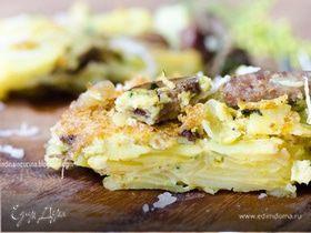 Тортилья с картофелем, белыми грибами и свиной колбаской