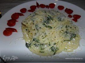 Паста со шпинатом и сыром филадельфия