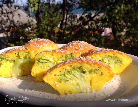Творожно-сырные маффины с брокколи