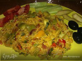 Яркая постная паэлья с овощами