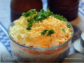 Слоеный салат с горбушей и гречкой