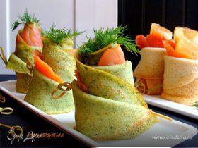 Блины на плавленом сыре со шпинатом и лососем