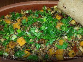 Гречка, томленая с тыквой, грибами, сельдереем и вялеными томатами