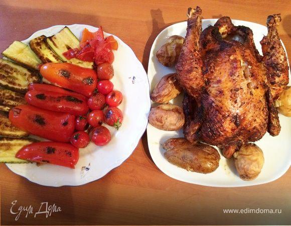 Фазан и овощи в тандыре