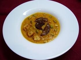 Постный суп-пюре из тыквы с белыми грибами