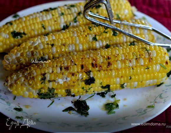 Кукуруза с маслом, кинзой и соком лайма