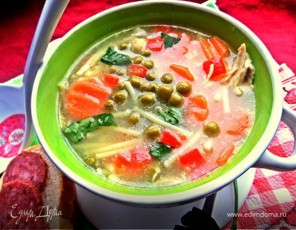 Суп с овощами и спагетти
