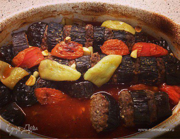 Кебаб с баклажаном в духовке (Fırında Patlıcan Kebabı)