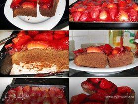 Шоколадные пирожные с клубникой в желе