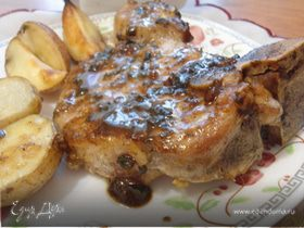 Свиной антрекот, запеченный с картофелем