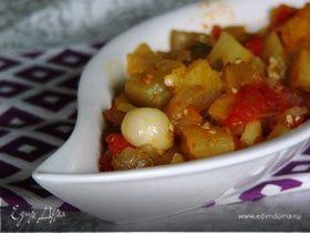 Баклажан, тушеный на оливковом масле с помидорами (Zeytınyaglı patlıcan)