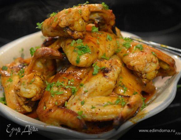 Сладко-пряные куриные крылышки