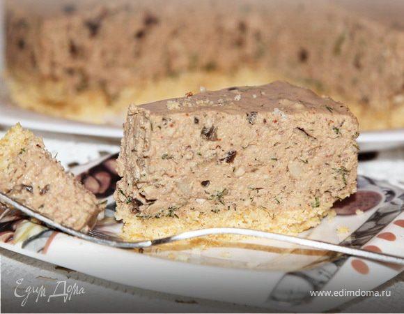 Печеночный чизкейк с орехами и грибами