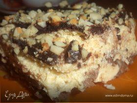 Арахисовый десерт с карамельным кремом и шоколадной глазурью (без выпечки)
