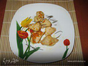 Запеченная курица с тыквой