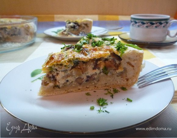 Грибной пирог под сырной заливкой