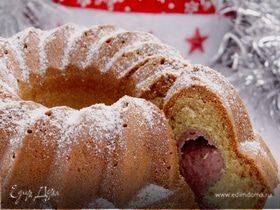 Новогодний кекс с рикоттой и клубникой