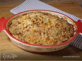 Гратен из лука-порея с помидорами и горчицей
