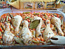 Куриные голени, запеченные с рисом и овощами