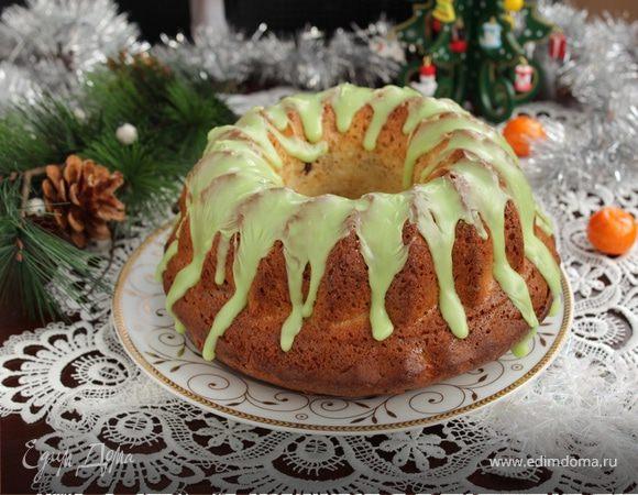 Творожный кекс с яблоками и вяленой клюквой
