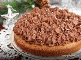 Вишневый пирог-торт с шоколадными сливками