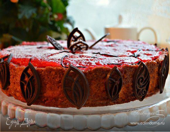 Вишневый торт с творогом