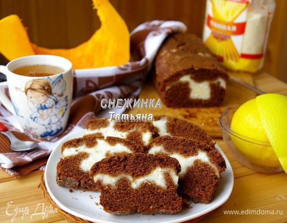 Манный пирог с тыквой и творожной начинкой