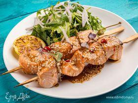 Шашлычки из лосося в медовом маринаде