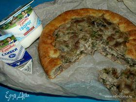 Деревенский пирог с мясом и грибами