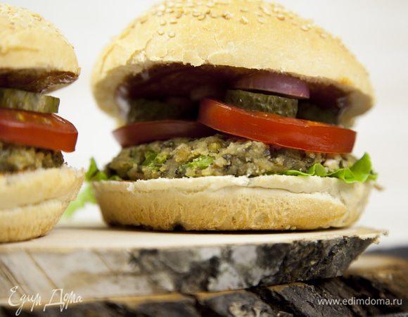 Вегетарианский бургер с котлетой из маша