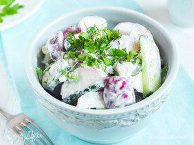 Весенний салат с заправкой из феты