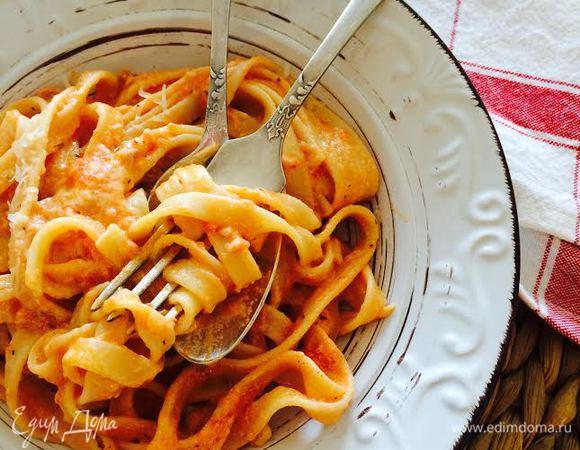 Феттучине в томатно-сливочном соусе