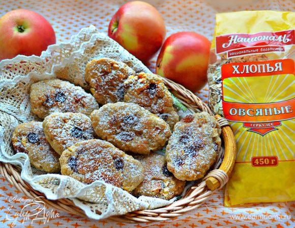 Овсяные коржики с яблоками и изюмом