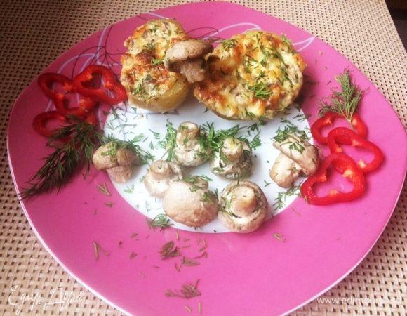 Печеный картофель с грибами и сыром