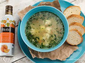 Овощной суп с зеленым горошком