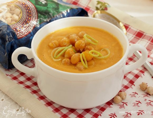 Суп-пюре с чечевицей и нутом