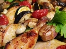 Курица с хариссой и овощами