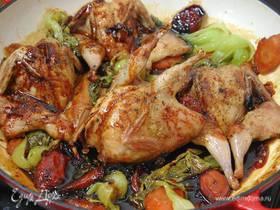 Перепелки с овощами в сладком соевом соусе