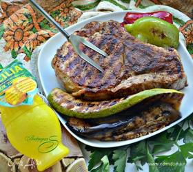 Корейка с овощами на гриле