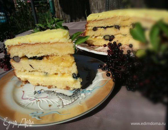 Лимонный торт с голубикой