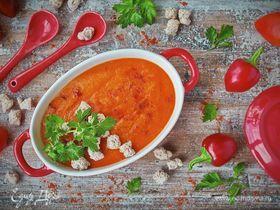 Крем-суп из запеченного перца с хрустящими ржаными отрубями