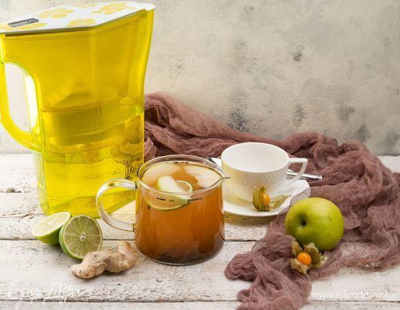 Имбирный чай с яблоком и лаймом