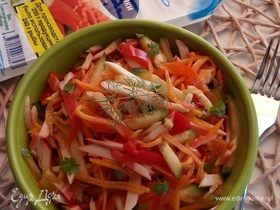 Острый салат с крабовыми палочками