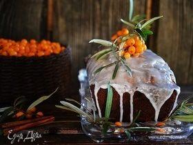Облепиховый кекс с орехами и брусникой
