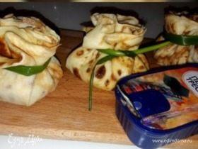 Блинные мешочки с начинкой из печени трески