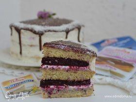 Ванильный торт с ягодным компоте