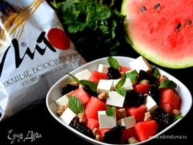 Салат с арбузом, сыром фета и отрубями
