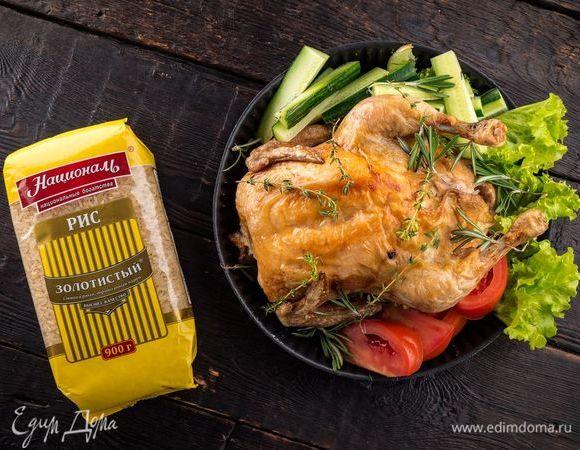 Курица, фаршированная рисом и яблоками